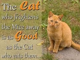 quotes the cat who frightens the mice away is as good, as the cat, who cats them.