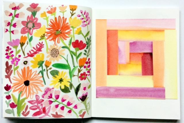 2x2, 2x2 Sketchbook, sketchbooks, artist collaborations, Dana Barbieri, Anne Butera, watercolor, painting, flowers, patchwork, floral pattern