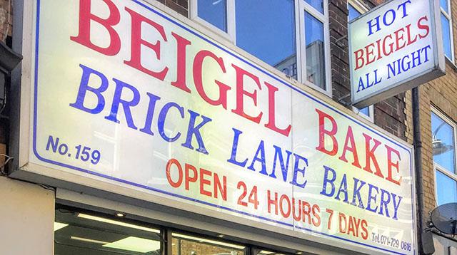 Beigel Bake Brick Lane Bakery in Spitalfields, London, UK, corned beef bagel sandwich