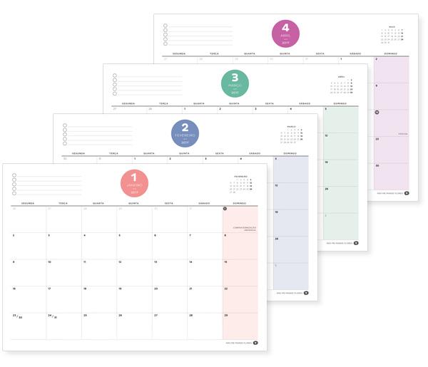 planner agenda organização calendarios