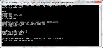 Program Menghitung Bangun Datar dengan C++
