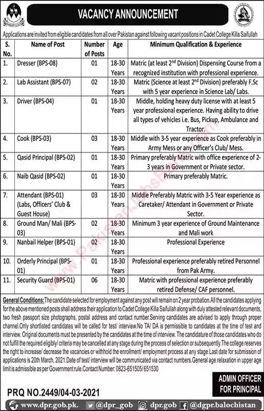 Latest Jobs in Pakistan Cadet College Killa Saifullah Jobs 2021