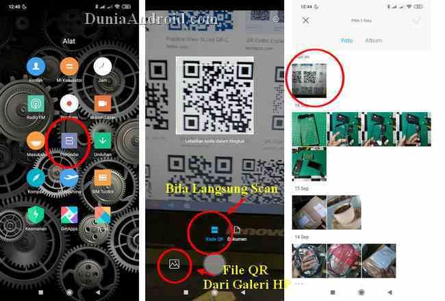 Aplikasi pemindai QR bawaan Xiaomi