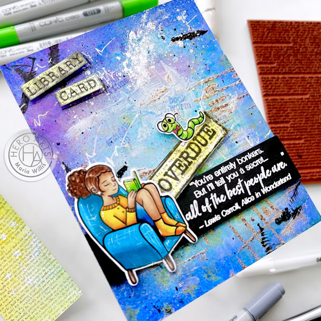 Cardbomb,maria willis,Hero Arts,My Monthly Hero Kit March 2021,cards,cardmaking,stamps,stamping,paper,papercrafting,ink,diy,handmade,greeting cards,mixed media,paint,copics,copic coloring,color,