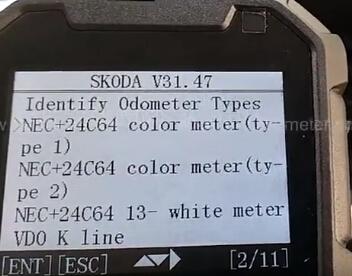 OBDSTAR X300M Change Skoda Yeti NEC+24C64 VDO-12 Mileage: 車