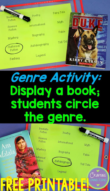 Genre activities for the upper elementary classroom- free printables are included!