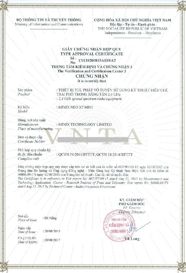 Mẫu giấy chứng nhận hợp quy Android TV Box