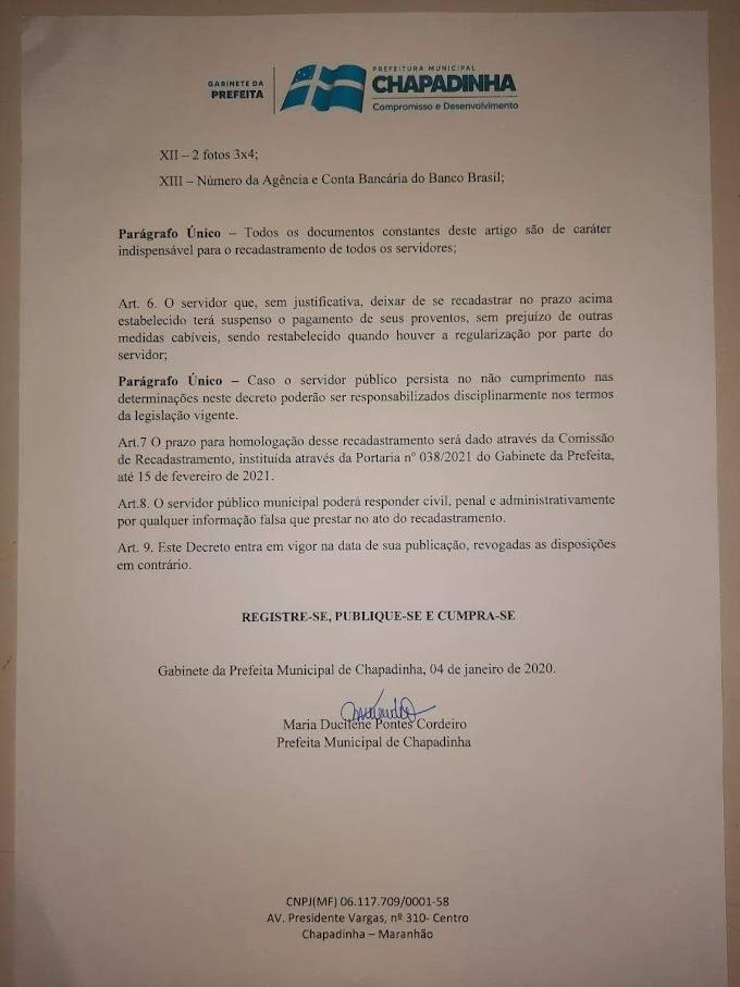 A Prefeitura Municipal de Chapadinha realizará recadastramento dos servidores municipais de 18 a 28 de Janeiro de 2021
