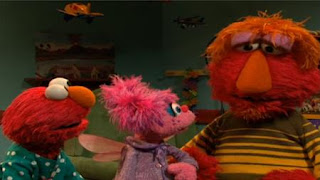 When Louie overhears the voice of Abby Cadabby, he surprises. He says to Elmo and Abby it is sleeping time. Sesame Street Bedtime with Elmo