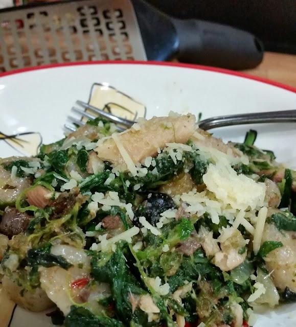 Wheat Gnocchi w/ Caper Pesto Spinach and Sardines