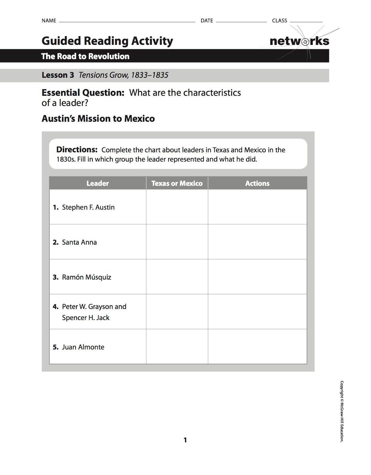 Worksheets Guided Reading Worksheets ehms texas history chapter 9 lesson 3 guided reading and homework alert the sheet for vocabulary builder worksheet are due at beginni