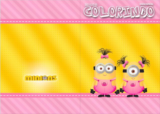 Carátula de libro para colorear de Minions Chicas.