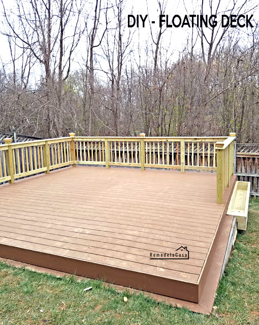 how to build a floating deck on a slanted yard