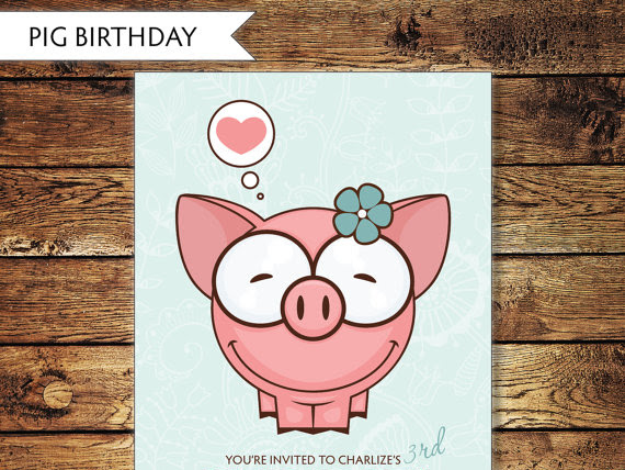 Children's Pig Birthday Invitation