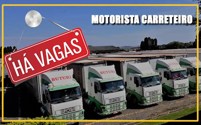 Transportadora Buturi está contratando Motorista carreteiro
