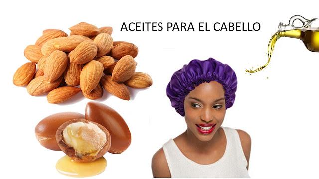 Mujer con aceites en el pelo