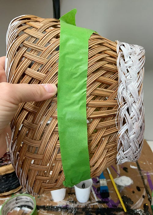 How to update thrift store baskets - use painters tape to make stripes