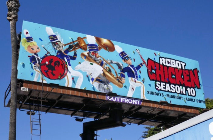 Robot Chicken season 10 ticker tape parade billboard