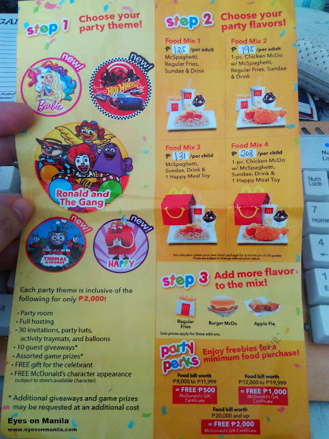 McDonald's Kiddie Party Package BF Southpark