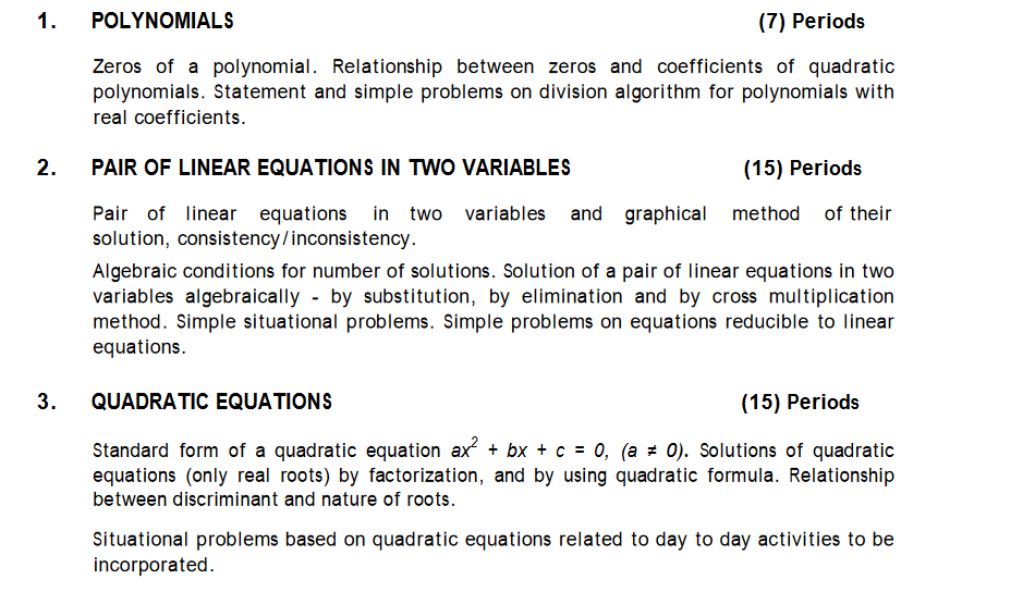 CBSE Syllabus for math