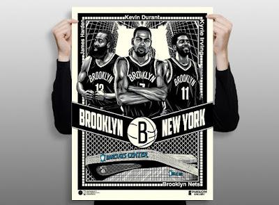 Brooklyn Nets Big 3 Screen Print by Fitz x Phenom Gallery