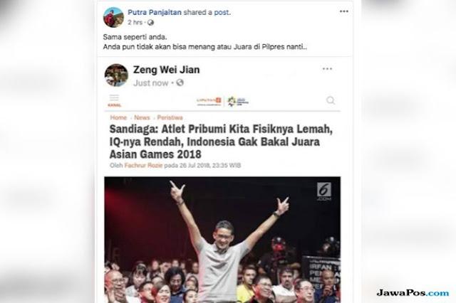 Sandiaga Uno Jadi Sasaran Berita Hoax dari Akun Kloning Zeng Wei Jian