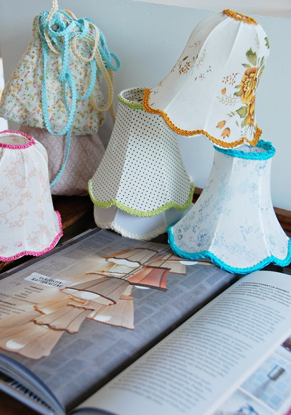 Hand stitched and covered lampshades