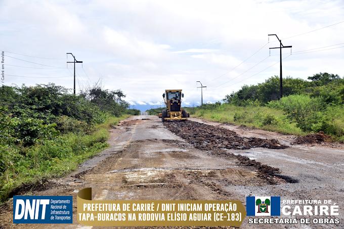 Prefeitura de Cariré / DNIT Ceará iniciam a operação tapa-buracos na Rodovia Elísio Aguiar (CE-183)