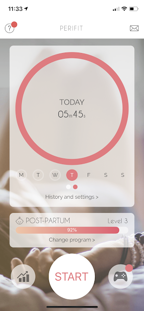 Screenshot of Perifit App homescreen