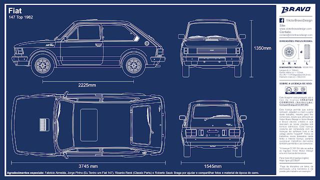 Imagem mostrando o desenho do blueprint do Fiat 147 Top 1982