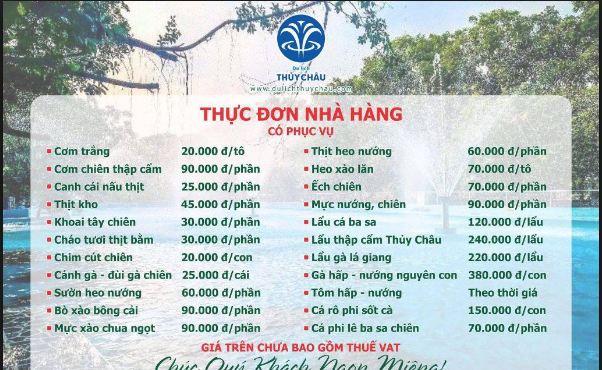 Bảng giá  đồ ăn khu vực đi chơi gần Sài Gòn