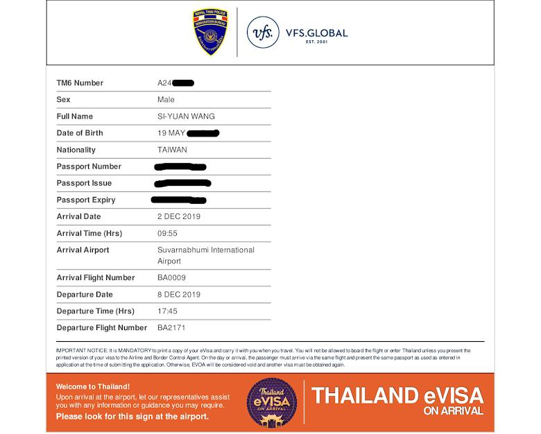 最後拿到泰國核發的電子落地簽