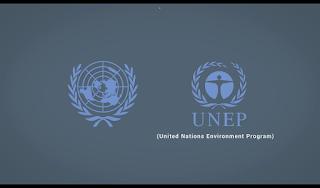 Lambang PBB dan UNEP, PBB kiri UNEP kanan,