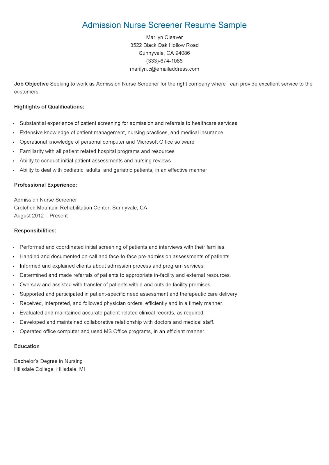 resume samples admission nurse screener resume sample