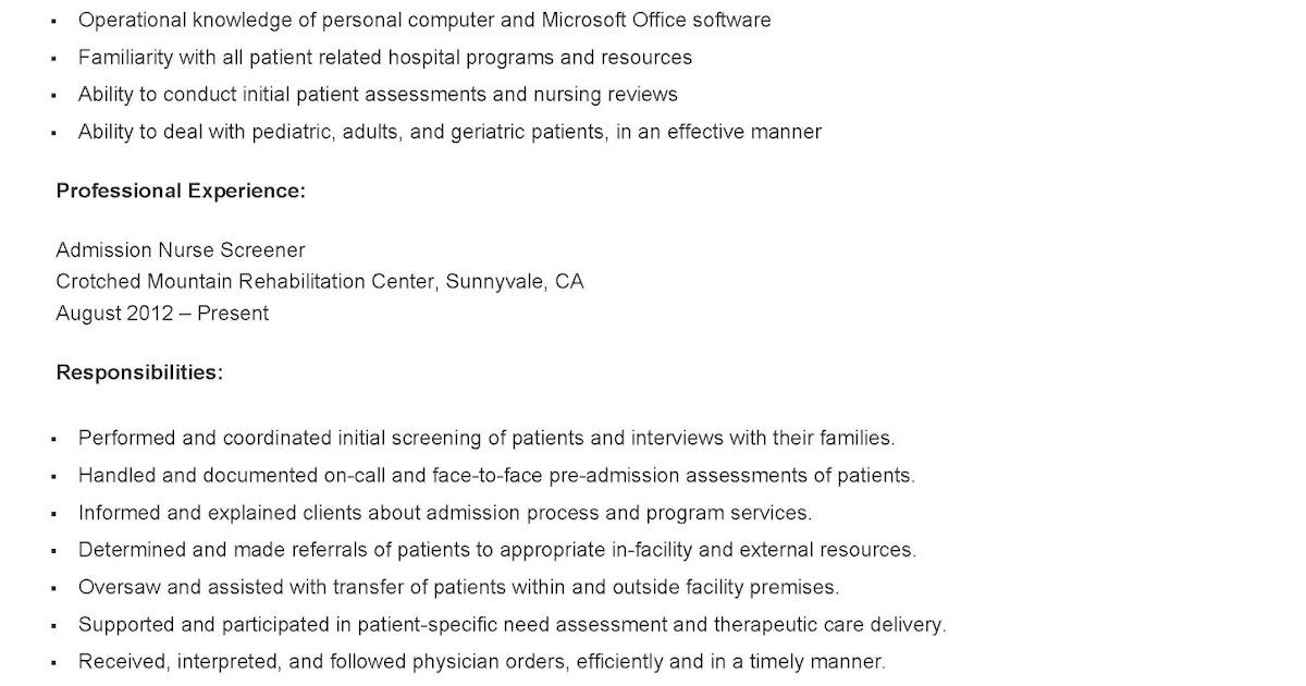 resume samples admission nurse screener resume sample