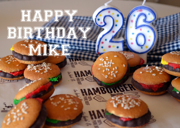 Hamburger Cookies Happy Birthday Candles
