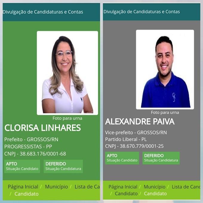 Clorisa e Alexandre tem registros de candidaturas deferidos pela Justiça Eleitoral