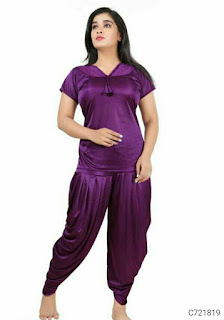 Women's Satin Solid Dhoti Night Suit