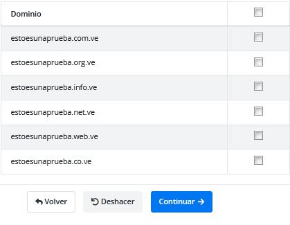 Seleccionar dominio y extensión