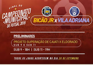 Sexta-feira tem a final do Campeonato Municipal de Futsal 2019
