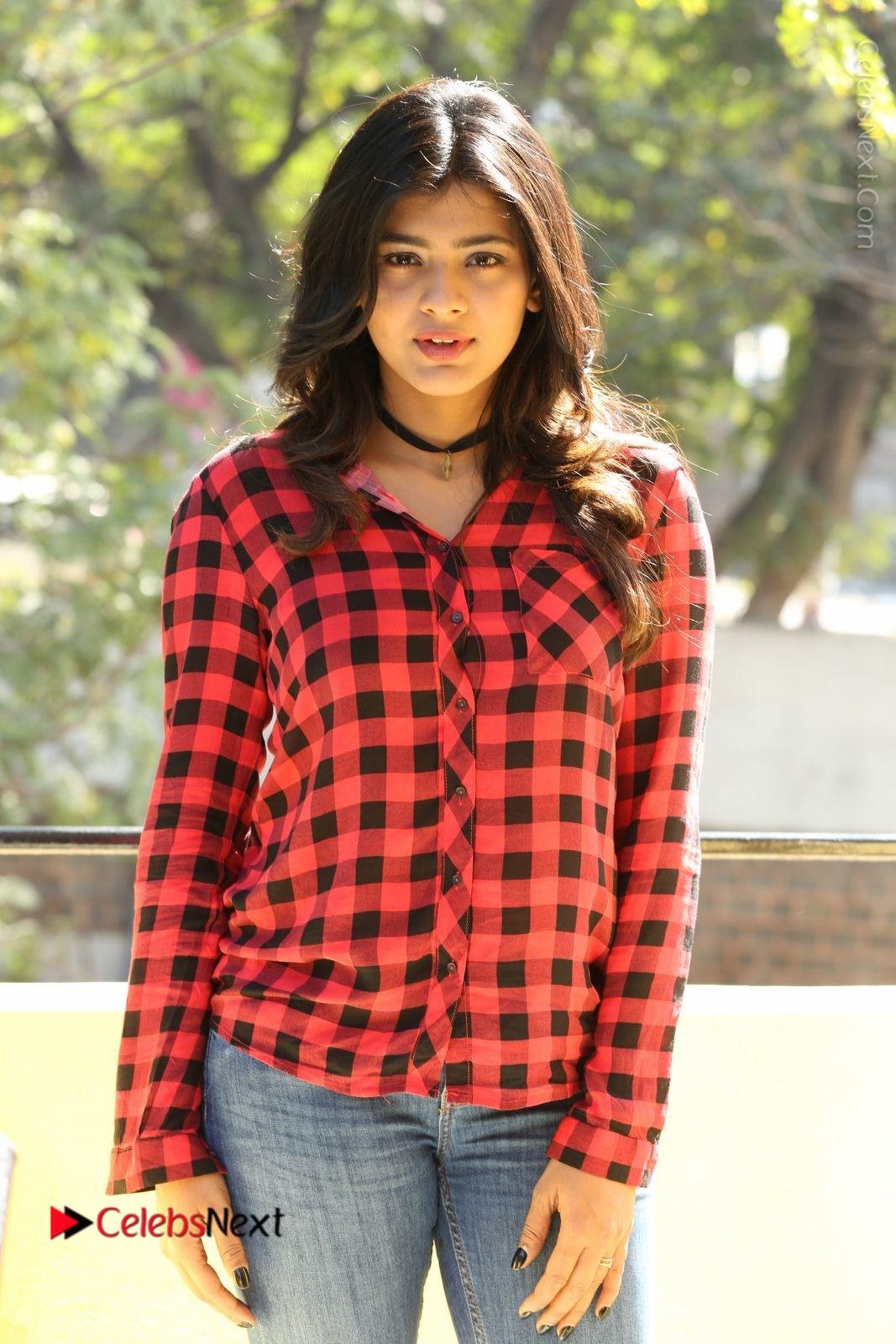 Hebah Patel Stills in Blue Denim Jeans at Nanna Nenu Naa Boyfriends Movie Success Meet