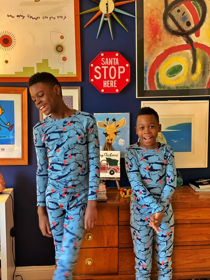 Brothers in matching jammies