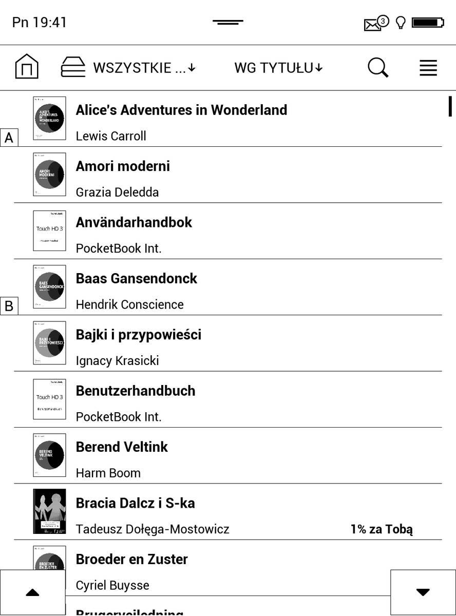 Biblioteka w PocketBook Touch HD 3 – tryb listy uproszczonej