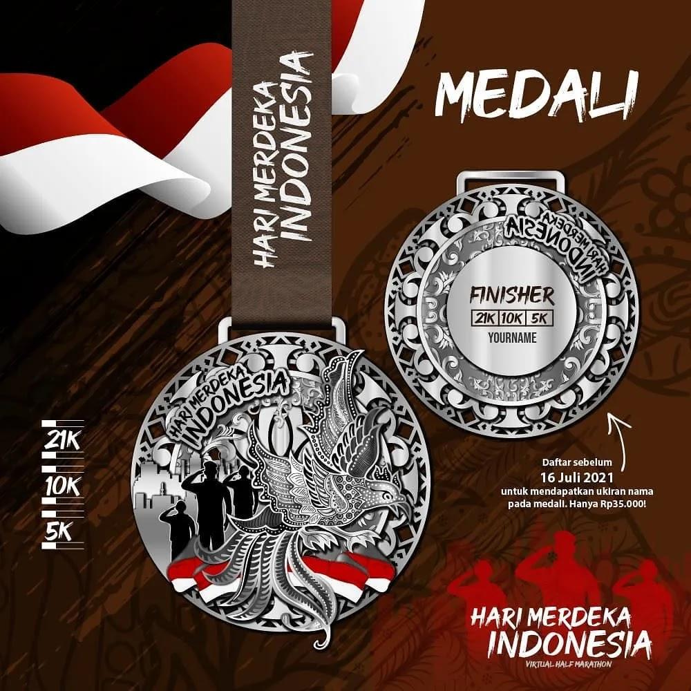 Medali � Hari Merdeka Indonesia Virtual Half Marathon • 2021