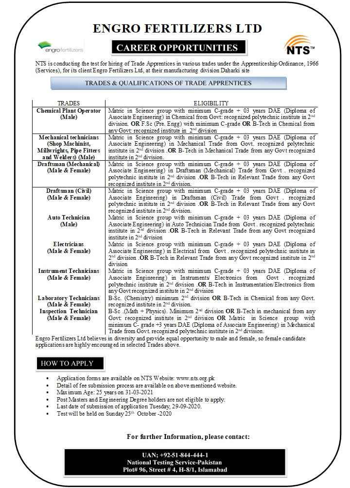 Engro Fertilizers Limited Jobs 2020 via NTS | Multiple Positions
