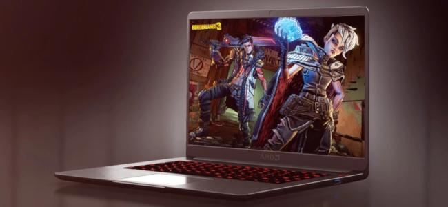 كمبيوتر محمول يحمل علامة AMD على خلفية أرجوانية مع صورة Borderlands 3 promtional على شاشة الكمبيوتر المحمول.