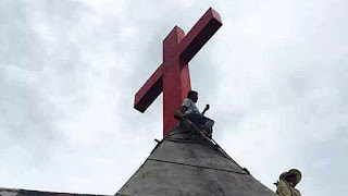 A cross is shown on the roof of a Protestant church in China's Zhejiang province in a file photo.