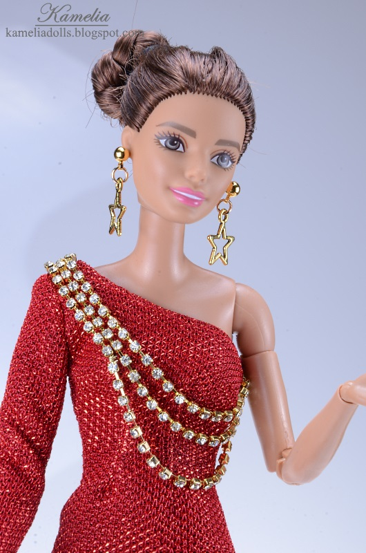 One arm red evening dress for Barbie doll.