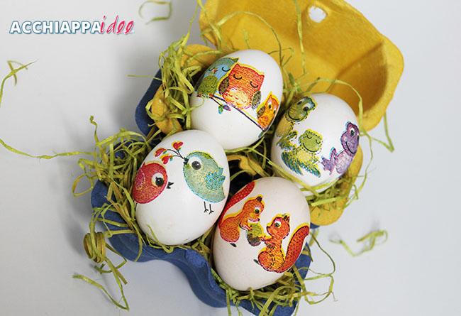 Presentazione uova sode decoupage in tavola