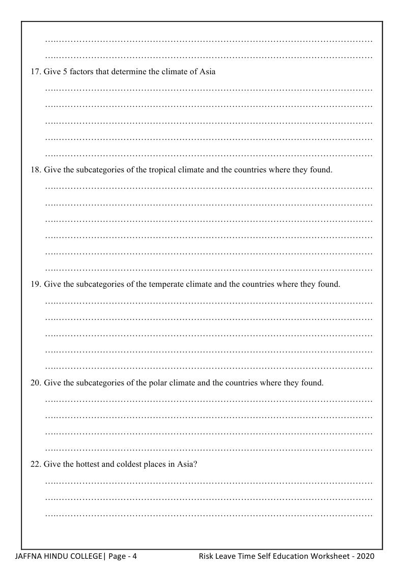 Grade 9_Geography_2020_COVID 19 Task Work Sheet_J/Jaffna
